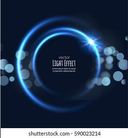 Vector round circle light frame. Shining glow circle banner. Vector round illustration design. Light effect digital futuristic energy