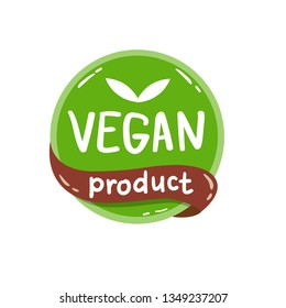 Vector round colorfull eco label with text - vegan product.