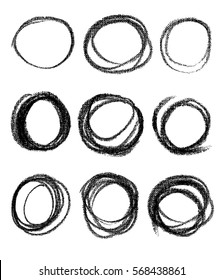 Vector round design elements on the chalkboard. Set of hand drawn black coal objects for design use. Vector art illustration grunge scratches, dust, stains, frames.