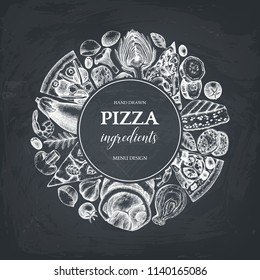 Vector round design with hand drawn pizza ingredients sketches. Vintage frame for pizzeria or cafe menu with meat, seafood, cheese, vegetables, mushrooms. Top view fast food illustration on chalkboard