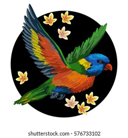 Vector round design. Realistic style. Colorful painting with tropical bird and exotic flowers.