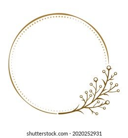 Vector round dotted frame with floral decoration