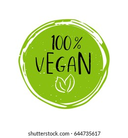Vector round eco, bio green logo or sign. Raw, healthy food badge, tag for cafe, restaurants, packaging. Hand drawn lettering 100% Vegan. Organic design template.