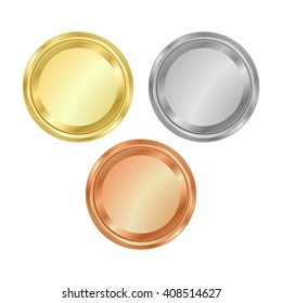 vector round empty polished medals of gold silver bronze.  It can be used as coins buttons icons
