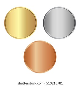 vector round empty polished medals of gold silver copper. It can be used as coins buttons icons.vector illustration eps 10