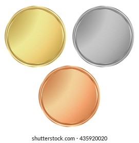 vector round empty textured gold silver bronze medals.  It can be used as a coin button icons