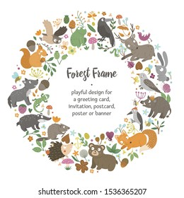 Vector round frame with animals and forest elements on black background. Natural themed banner. Cute funny woodland card template