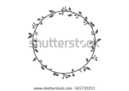 Vector Round Frame Branch Ivy Stock Vector (Royalty Free) 565733251 ...