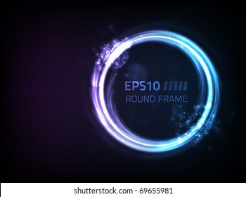Vector round frame design against dark background