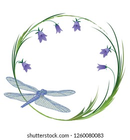 vector round frame with dragonfly and bluebells EPS 10