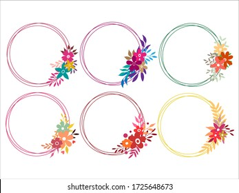 vector round frame, Floral wreath with leaves, Decorative elements for design, Border frames