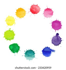 Vector round frame made of watercolor rainbow blobs, colorful paint drops texture.  Vector EPS10. Colorful watercolor splashes isolated on white background