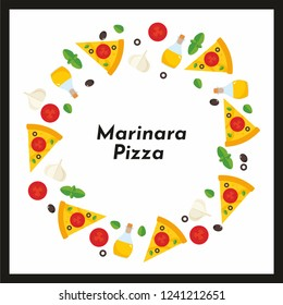 Vector round frame of pizza and ingredients. Background for invitations, advertisements, postcards. Option No1