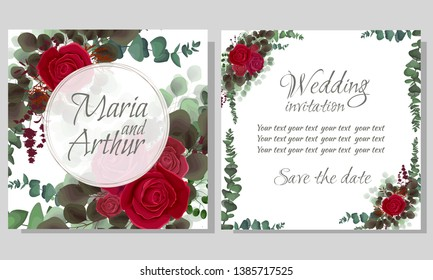 Vector round frame. Red roses, lavender silhouette, dark and light leaves. Wedding invitation template. All elements are isolated.