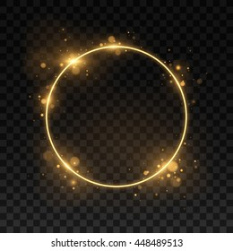 Vector round frame. Shining circle banner. Isolated on black transparent background. Vector illustration, eps 10.