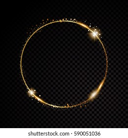 Vector round frame. Shining circle banner. Isolated on black transparent background. Vector illustration