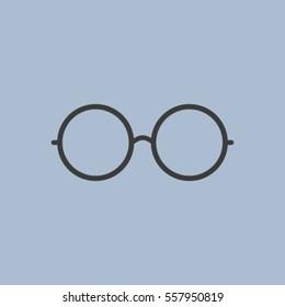Vector Round Glasses Icon Symbol