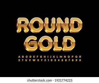 Vector Round Gold Alphabet set. Textured premium Font. 3D Luxury Letters and Numbers