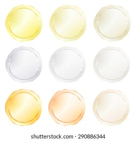 Vector round icons with different types of polished metal, gold, red gold, platinum, silver, bronze, copper, aluminum, brass, which can be used as a coin, price tags, labels, or knob