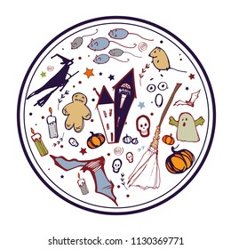 Vector  round illustration with pumpkins, skull, gost, etc. Halloween round card, poster, banner, invitation. EPS 10