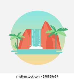 Vector round illustration of tropical waterfall with palm trees. Flat design sticker or label.