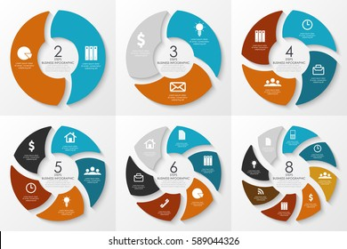 Vector round infographics. Template for circle diagram, graph, presentation, web design and chart. Business concept with 2, 3, 4, 5, 6, 8 steps
