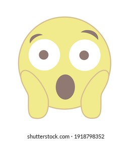 Vector round isolated emoticon on a white background. Symbol. The yellow face screams and holds its head with crawfish. Large eyes wide open. Fear. Surprise. Popular chat element. Trendy, flat cartoon
