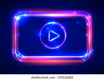 Vector round light video player frame. Shining square banner. Vector illustration
