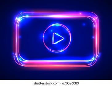 Vector round light video player frame. Shining square banner. Vector illustration