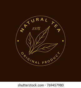 Vector round logo, emblem - beauty and cosmetics oil - tea. Logotype in linear style