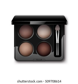 Vector Round MultiColored Pastel Light Brown Cream Ocher Eye Shadows in Black Rectangular Plastic Case with Makeup Brush Applicator Top View Isolated on White Background
