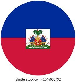 Vector round national flag Republic of Haiti