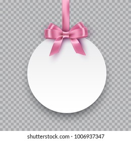 Vector round paper banner hanging on pink ribbon with bow. White post note with pink ribbon and bow isolated on transparent background.