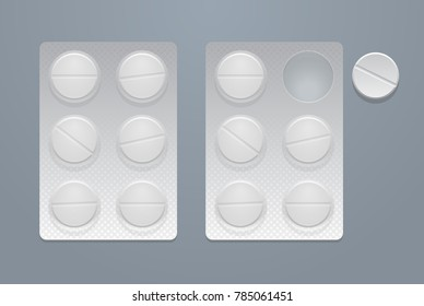 Vector round pills in two blister packs, eps10
