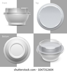 Vector round plastic container with foil and transparent lid for cosmetics cream, yoghurt or jelly. Set of top, bottom, front and perspective views. Packaging mockup illustration.