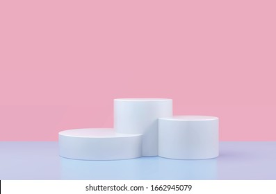 Vector round podium, pedestal or platform, background for cosmetic product presentation. 3d podium. Advertising place. Blank product stand background in pastel colors
