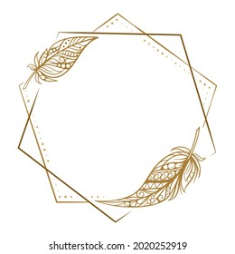 Vector round polygonal dotted frame with feather decoration