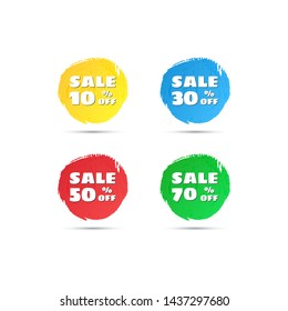 Vector round sale tags. Discount sticker for Black Friday sales and other. Discount offer price label - 10% 30% 50% 70% off. Icon sale set.