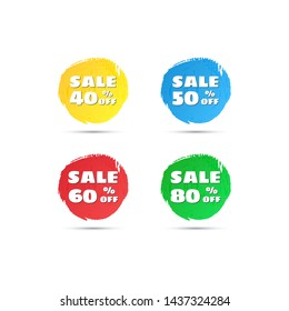 Vector round sale tags. Discount sticker for Black Friday sales and other. Discount offer price label - 40% 50% 60% 80% off. Icon sale set.