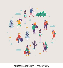 Vector round shaped design element on winter holiday season and Christmas eve festive chores with abstract people carrying gifts and evergreen trees in snowy background