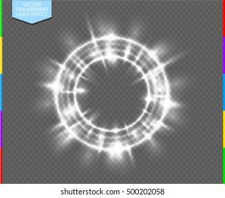 Vector round shiny frame with flare special effect. Luxury white light ring. Abstract Glow circle on transparent background