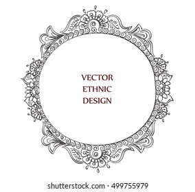 oval frame tattoo design. Vector Round Tattoo Henna Frame. Isolated Pattern For Design On White  Background. Oval Frame