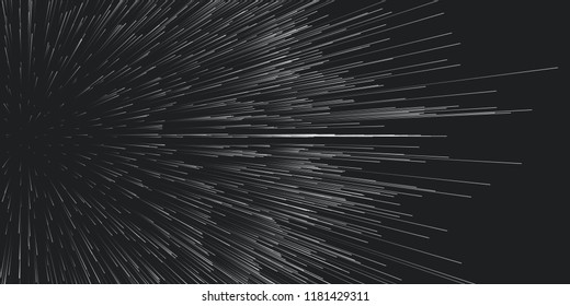 Vector round trails of explosion background. Out of centric debris motion. Particles blurred into rays or lines under high speed of motion. Burst, explosion backdrop
