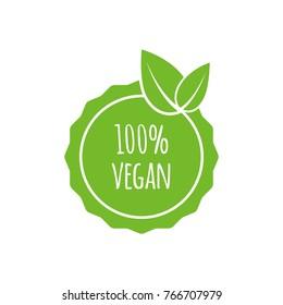 Vector round vegan, eco, bio green logo with leaf. Vegan menu. Vector illustration.