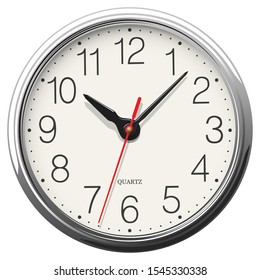 Vector round wall clock with glossy metallic body placed on white