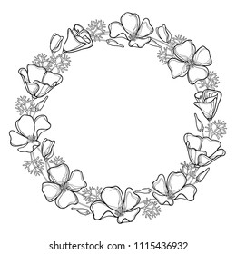 Vector round wreath of outline California poppy flower or California sunlight or Eschscholzia, leaf and bud in black isolated on white. Contour ornate poppy bunch for summer design or coloring book.