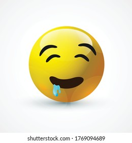 vector round yellow cartoon bubble Drool Drooling emoticons comment social media Facebook Instagram Whatsapp chat comment reactions, icon template face emoji character message