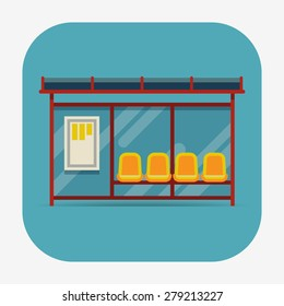 Vector rounded corners square icon on public city transportation system item bus stop, front view, isolated