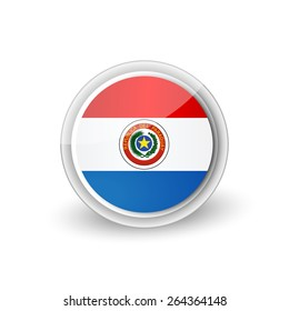 Vector rounded flag button icon of Paraguay