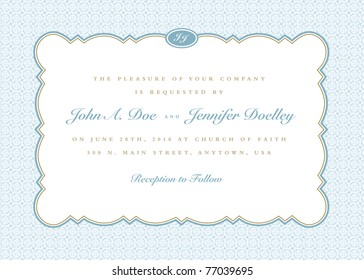 Vector Rounded Frame with Ornate Background. Easy to edit. Perfect for invitations or announcements.